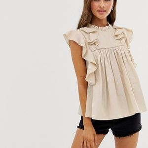 ASOS DESIGN linen ruffle top with lace up detail